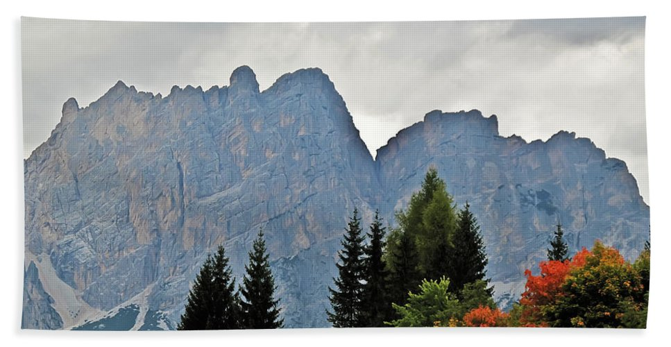 Travel Hand Towel featuring the photograph Haze And The Dolomites by Elvis Vaughn