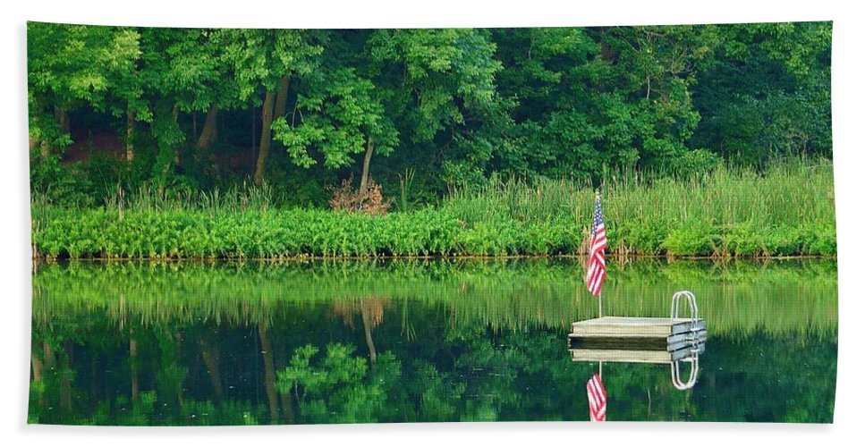 Floating Hand Towel featuring the photograph Hazy Summer - Patriotic Dock by Ray Sheley