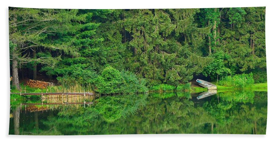 Pond Hand Towel featuring the photograph Hazy Summer - Shoreline by Ray Sheley