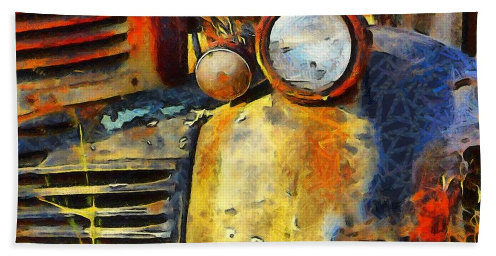 Headlight On A Retired Relic Abstract Hand Towel featuring the photograph Headlight On A Retired Relic Abstract by Barbara Snyder