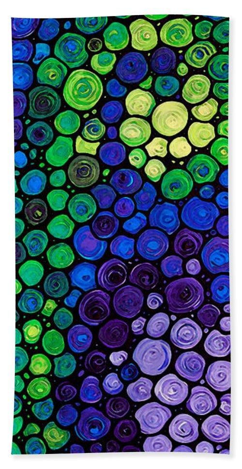 Health Bath Sheet featuring the painting Healing Light - Mosaic Art By Sharon Cummings by Sharon Cummings
