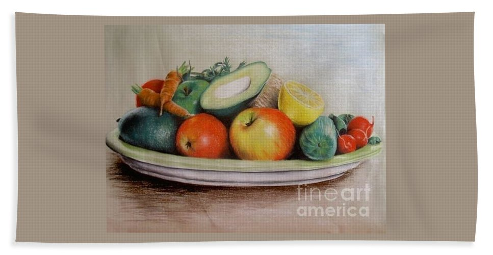 Fruit Bath Towel featuring the pastel Healthy Plate by Katharina Filus