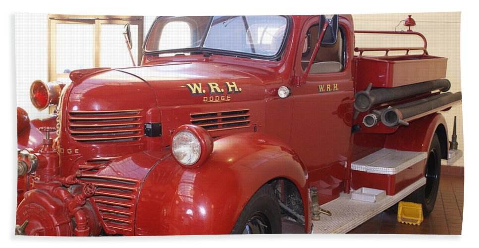Hearst Fire Truck Hand Towel featuring the photograph Hearst Fire Truck by Barbara Snyder