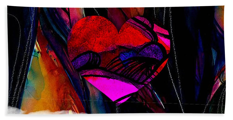 Heart Hand Towel featuring the mixed media Heart Floating Above Clouds by Marvin Blaine