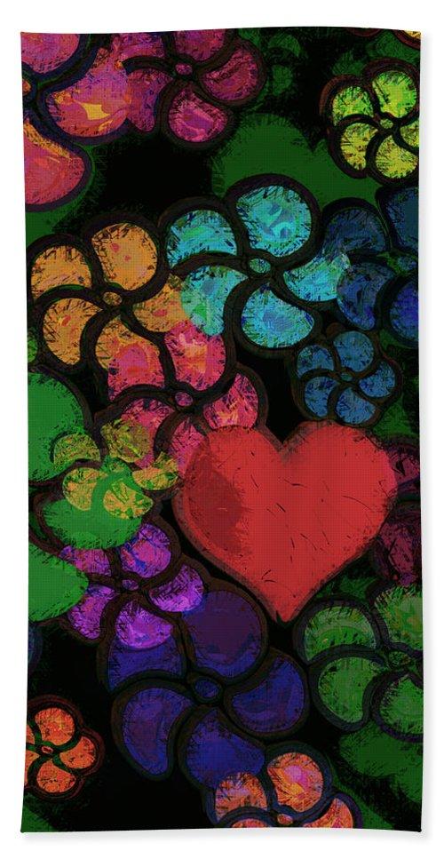 Heart Bath Sheet featuring the digital art Heart In Flowers by Vicki Podesta