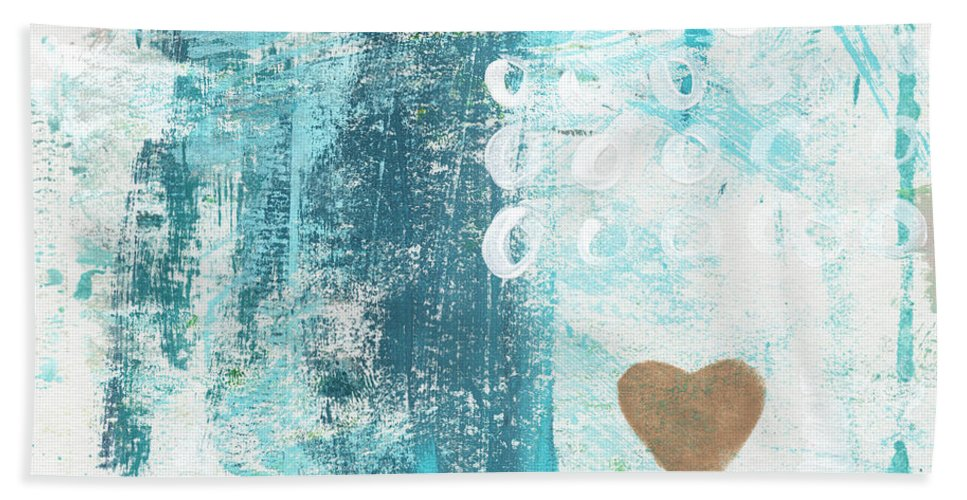 Abstract Art Bath Towel featuring the painting Heart In The Sand- Abstract Art by Linda Woods
