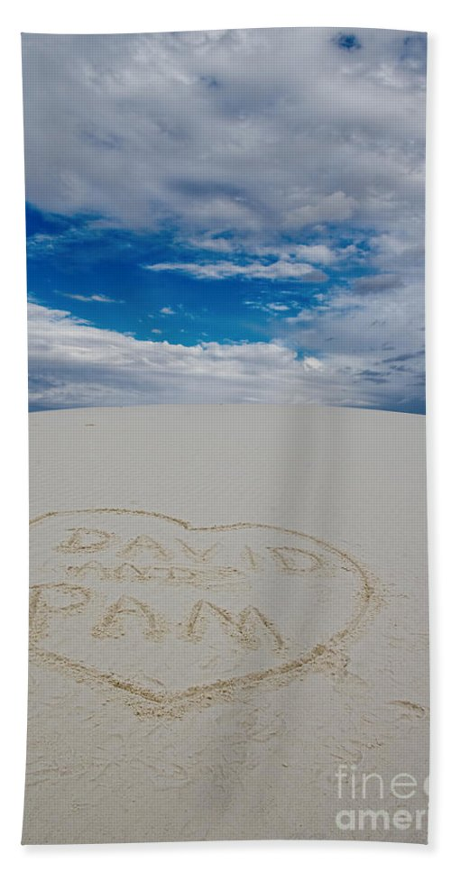 Heart Bath Sheet featuring the photograph Heart In The Sand by David Arment