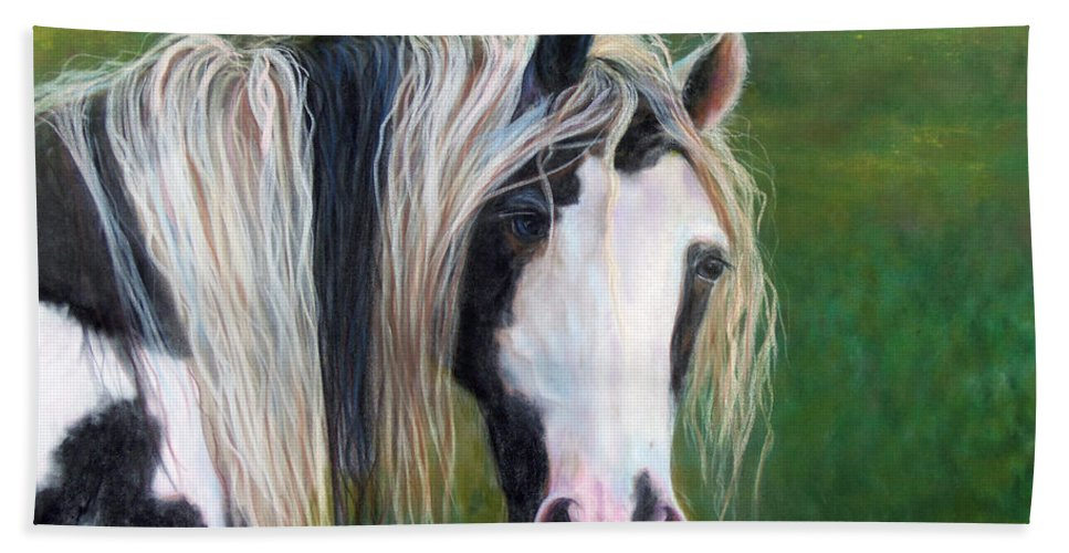 Heart Horse Painting Hand Towel featuring the painting Heart by Karen Kennedy Chatham