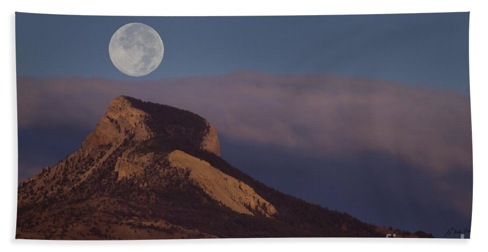 Heart Mountain Hand Towel featuring the photograph Heart Mountain And Full Moon-signed-#0325 by J L Woody Wooden