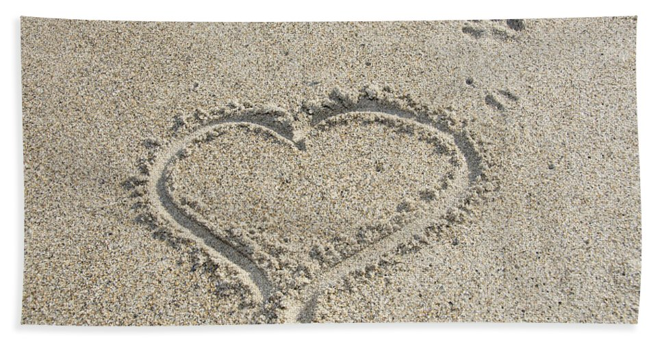Heart Hand Towel featuring the photograph Heart Of Sand by Mary Koenig Godfrey