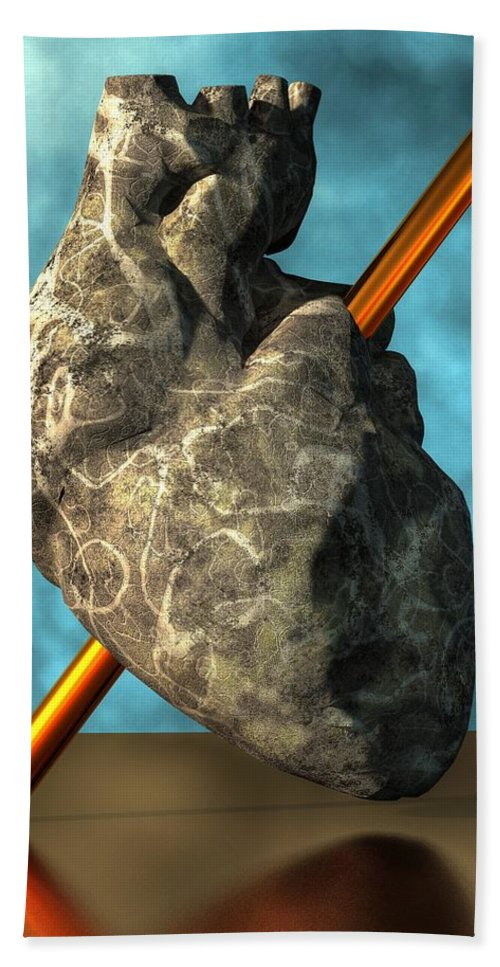Stone Heart Hand Towel featuring the digital art Heart Of Stone by Daniel Eskridge