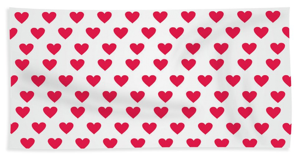 Hearts Hand Towel featuring the digital art Heart Patterns by FL collection