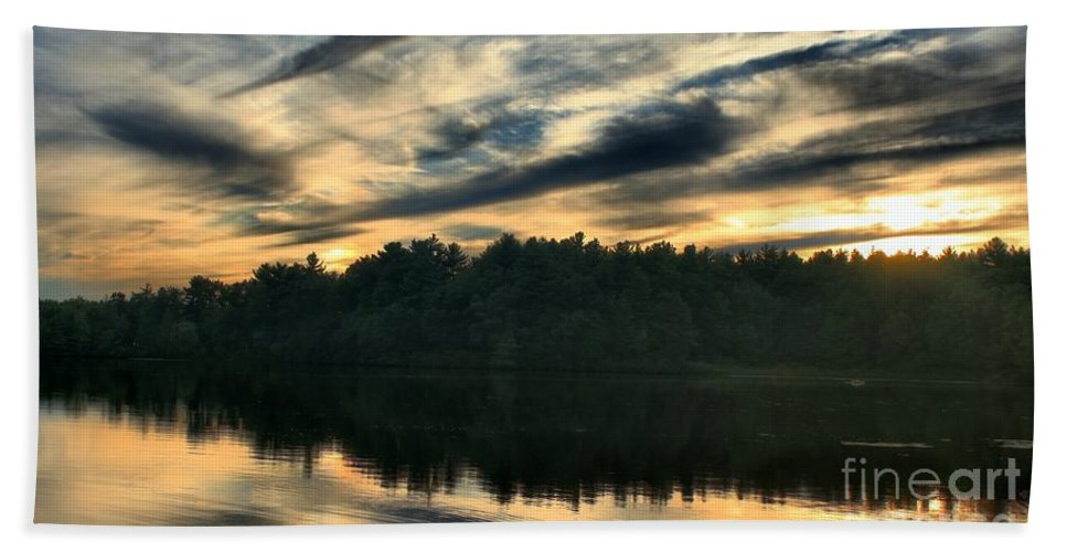 Sunset Hand Towel featuring the photograph Heart Pond Sunset by Kenny Glotfelty