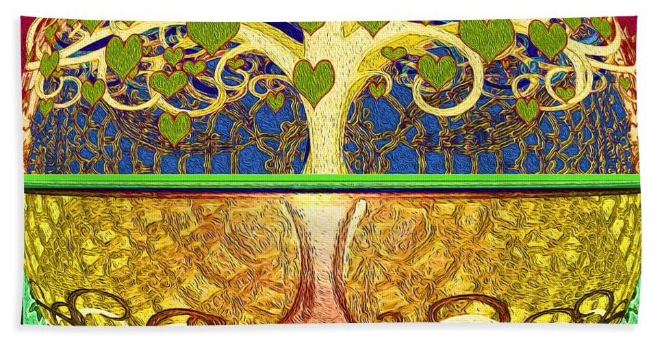 Tree Of Life Hand Towel featuring the digital art Heart Tree by Amelia Carrie