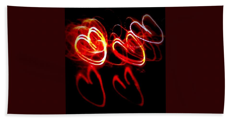 Red Hand Towel featuring the photograph Hearts In Color by Cindy New