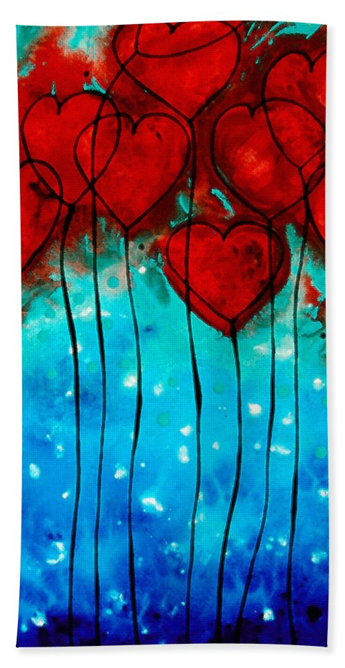 Red Bath Towel featuring the painting Hearts On Fire - Romantic Art By Sharon Cummings by Sharon Cummings