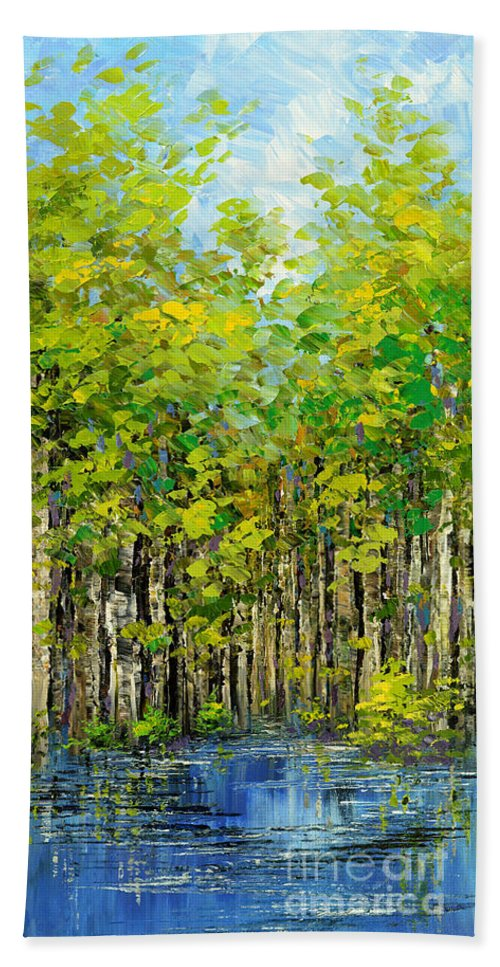 Forest Hand Towel featuring the painting Heat Of Summer by Tatiana Iliina