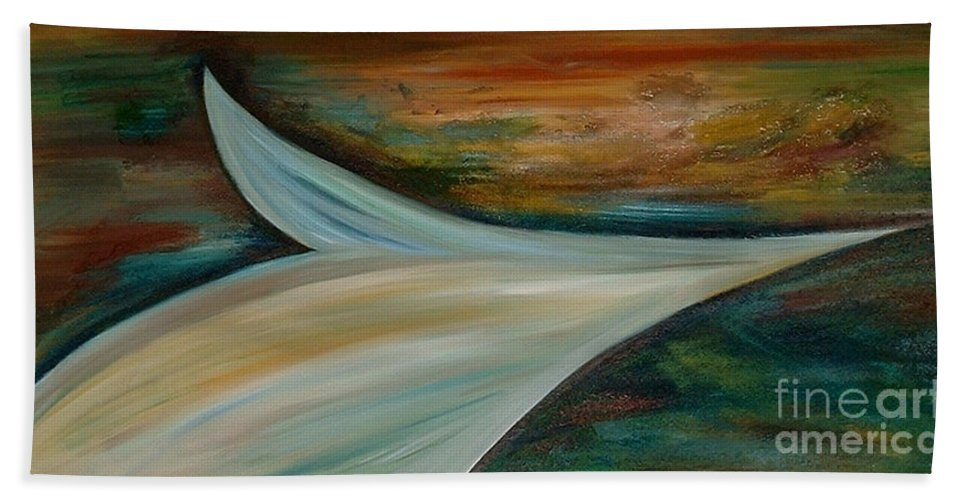 Abstract Hand Towel featuring the painting Heaven by Silvana Abel