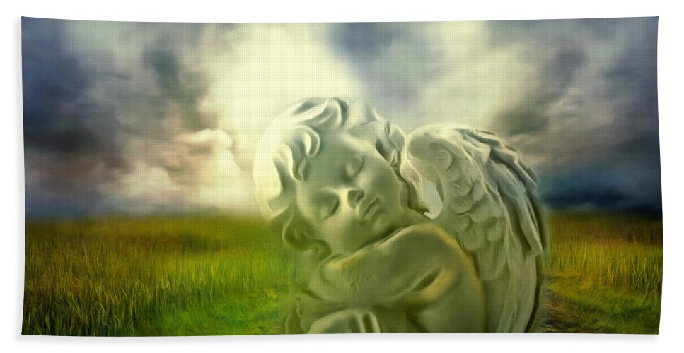 Angel Bath Sheet featuring the digital art Heavenly Angels Vintage Cool Version by Georgiana Romanovna