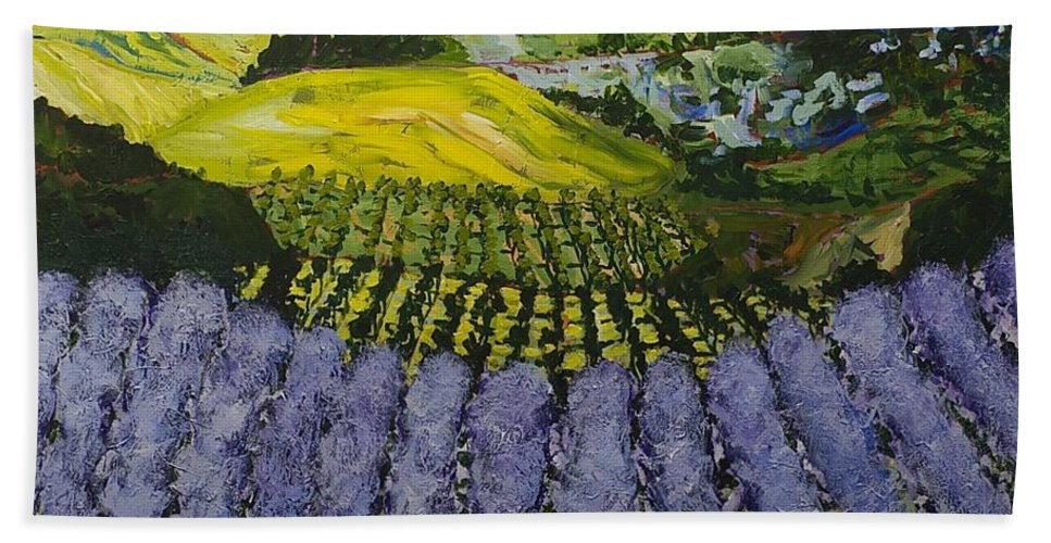 Landscape Hand Towel featuring the painting Heavenly Valley by Allan P Friedlander