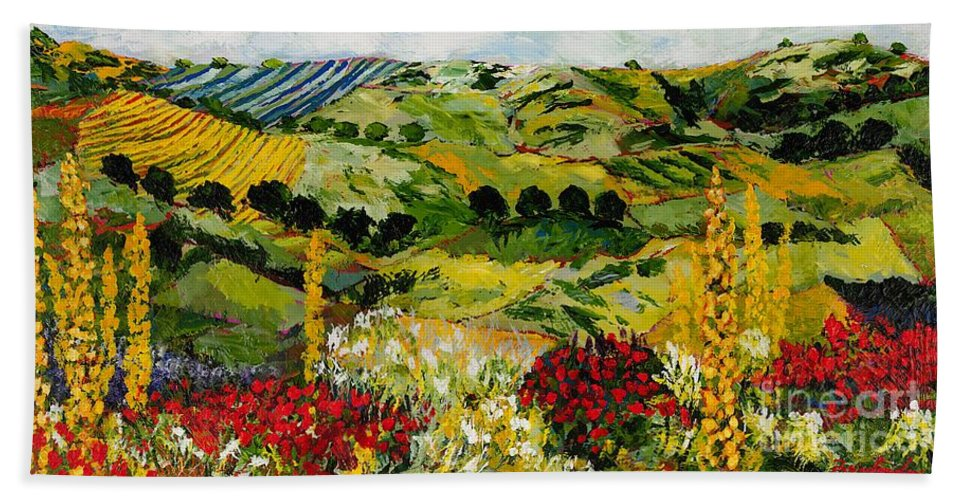 Landscape Bath Towel featuring the painting Heavenly View by Allan P Friedlander