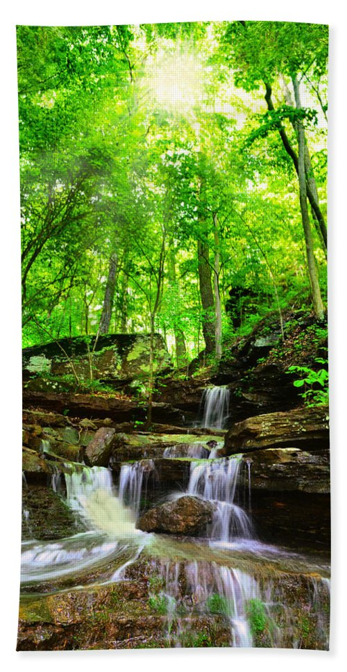 Waterfall Bath Sheet featuring the photograph Heavens Door by Lj Lambert