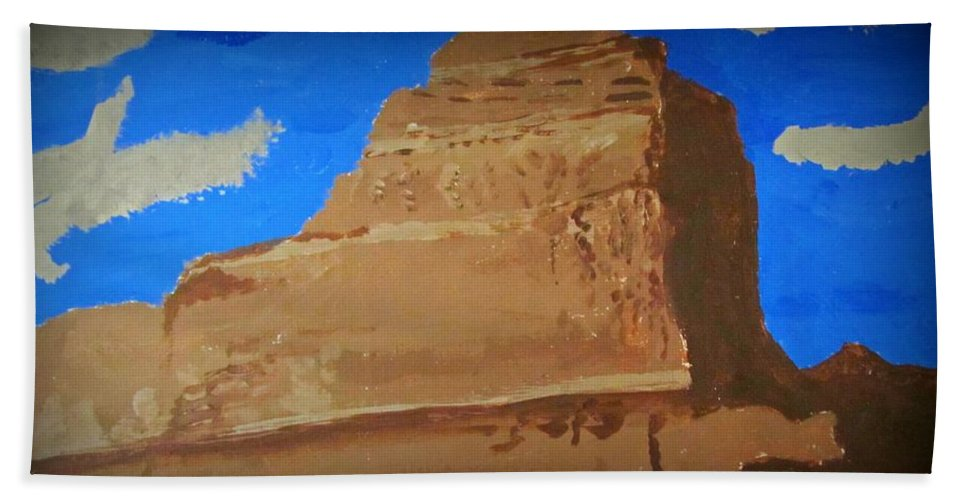 Mountain Hand Towel featuring the painting Heaven's Peak by Robert Nacke