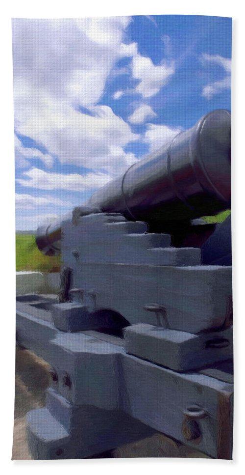 Canadian Bath Sheet featuring the painting Heavy Artillery by Jeffrey Kolker