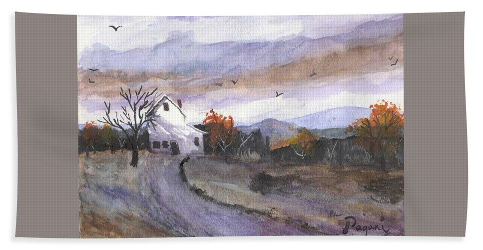 Watercolor Bath Sheet featuring the painting Hebo Farmhouse by Chriss Pagani