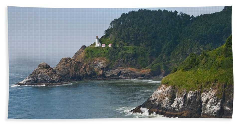 Architecture Bath Sheet featuring the photograph Heceta Head Overlooking The Pacific Ocean by Jeff Goulden