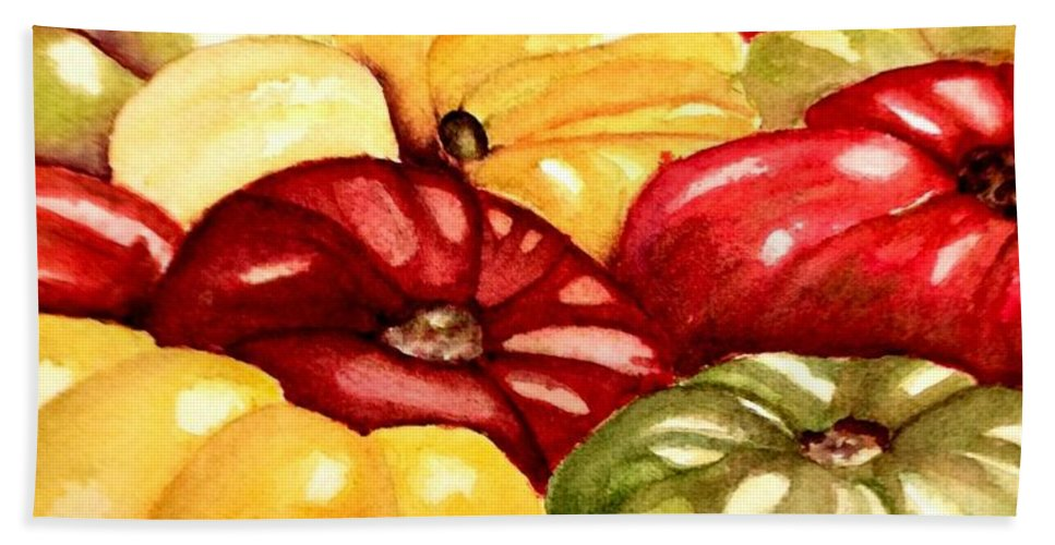 Tomatoes Bath Sheet featuring the painting Heirlooms by Nicole Curreri