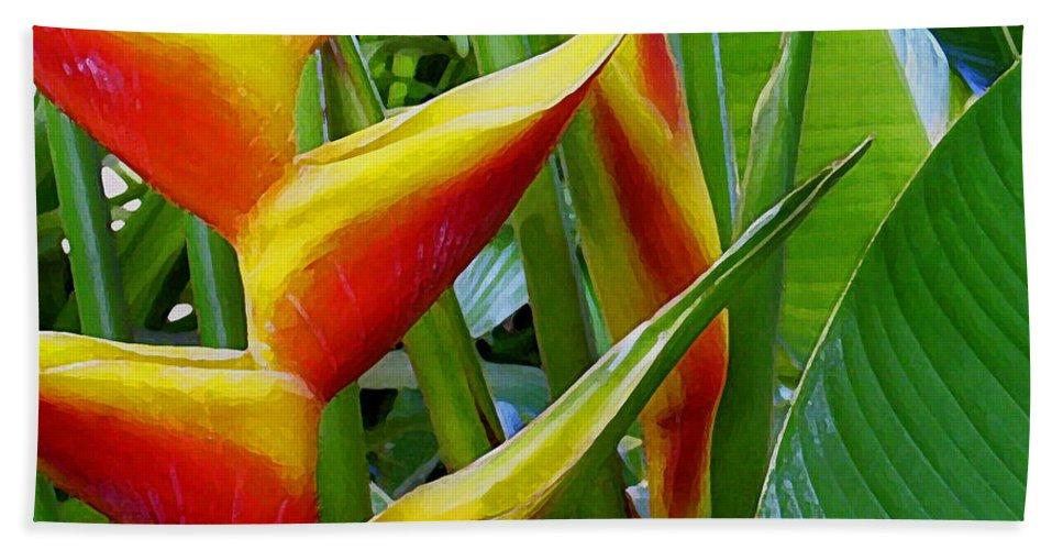 Heliconia Bath Sheet featuring the photograph Heliconia Bihai Kamehameha by James Temple