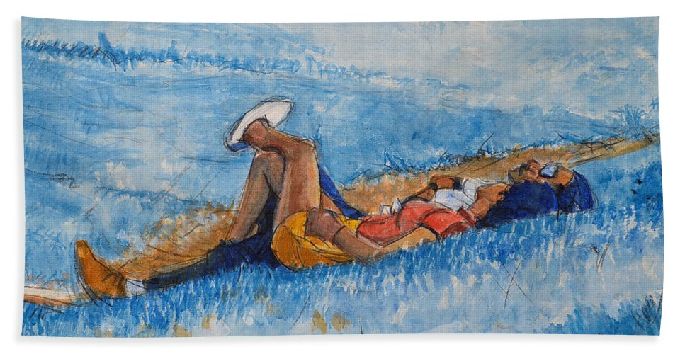 Young Hand Towel featuring the painting Hello Young Lovers In Blue by Charles M Williams