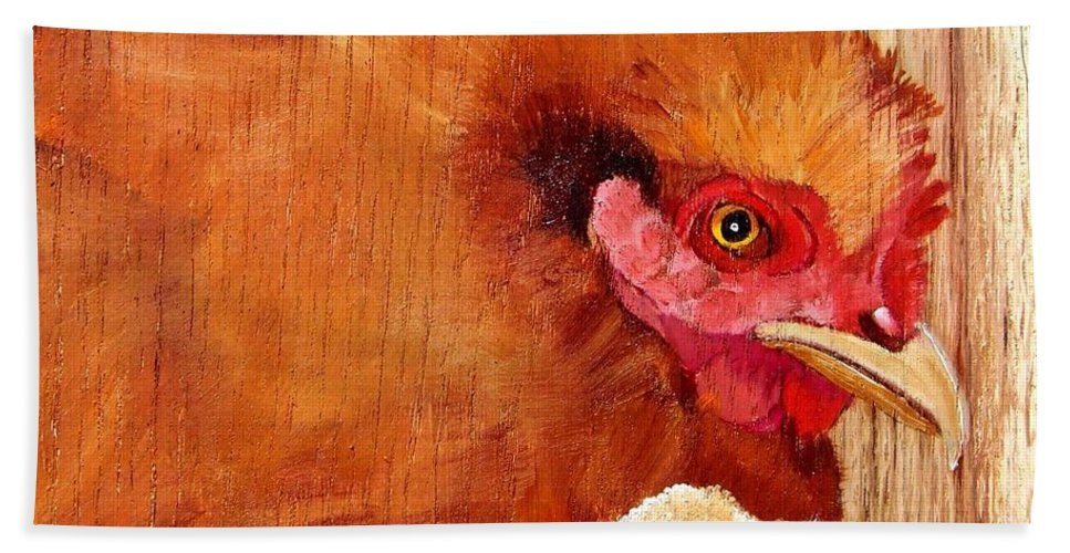 Chicken Hand Towel featuring the painting Hen With Chick On Wood by Debbie LaFrance