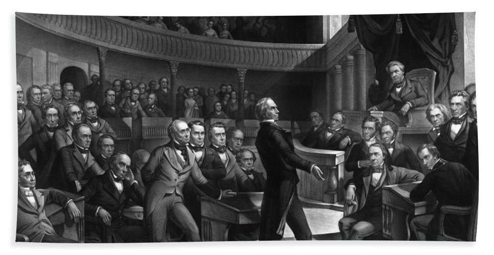 Henry Clay Hand Towel featuring the drawing Henry Clay Speaking In The Senate by War Is Hell Store