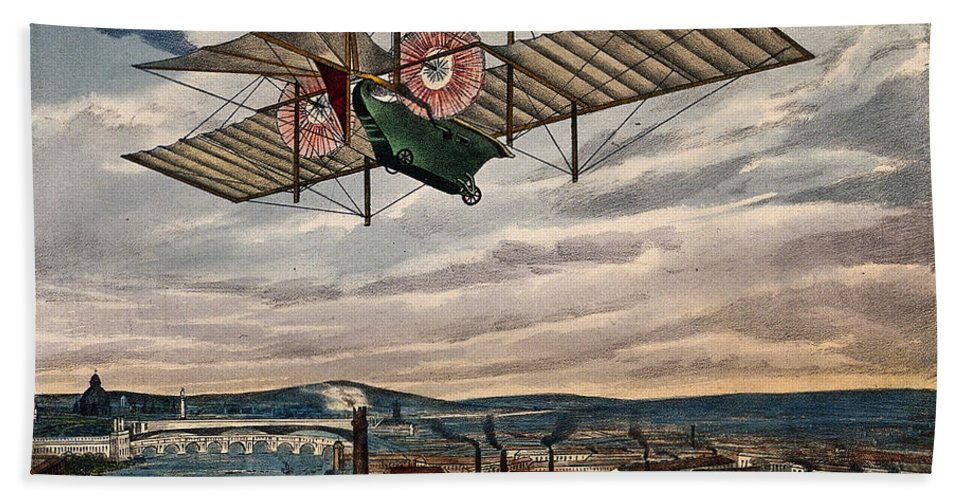 Historic Hand Towel featuring the photograph Henson's Aerial Steam Carriage 1843 by Wellcome Images