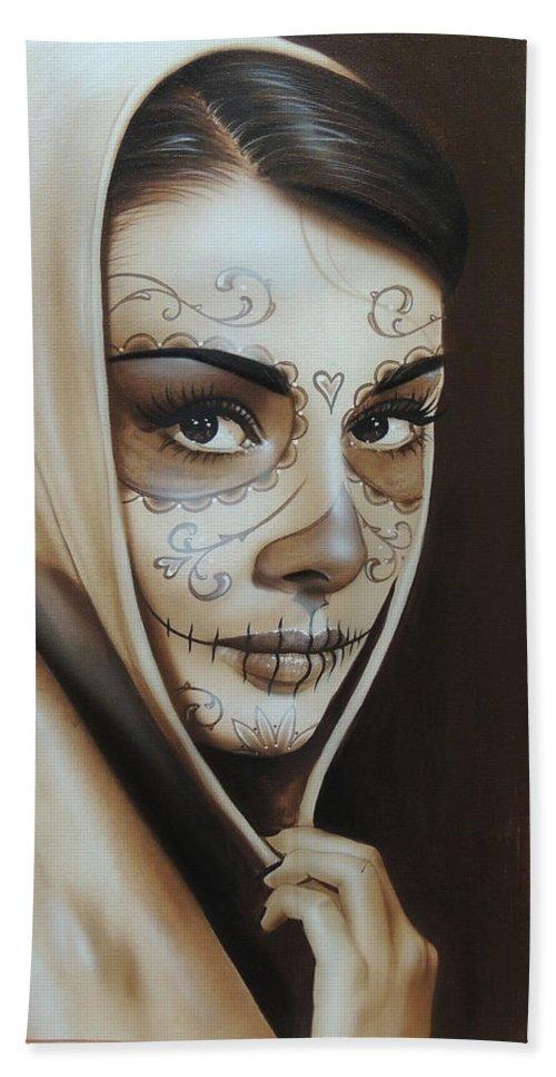 Audrey Hepburn Bath Sheet featuring the painting Hepburn De Los Muertos by Christian Chapman Art