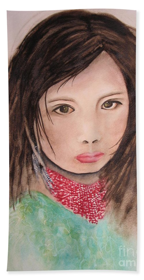Fine Art Painting Hand Towel featuring the painting Her Expression Says It All by Chrisann Ellis