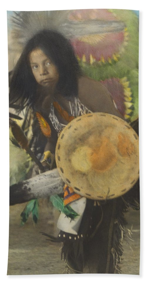 Traditional Bath Sheet featuring the photograph Heratige #1-young Traditional Dancer by Larry Kjorvestad