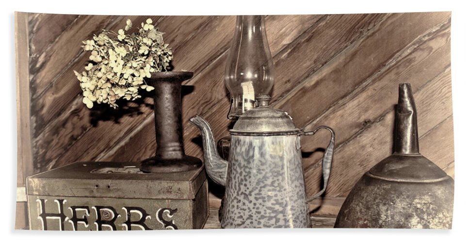 Herbs Hand Towel featuring the photograph Herbs Bw by Sylvia Thornton