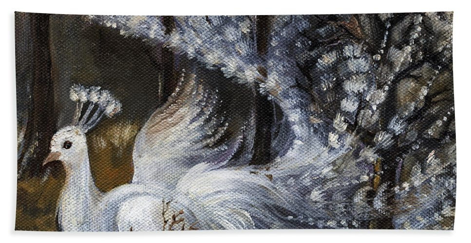 Peacock Hand Towel featuring the painting Here Comes The Mist by Angel Ciesniarska