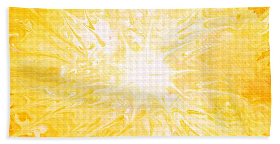 Yellow Sun Hand Towel featuring the painting Here Comes The Sun by Kume Bryant