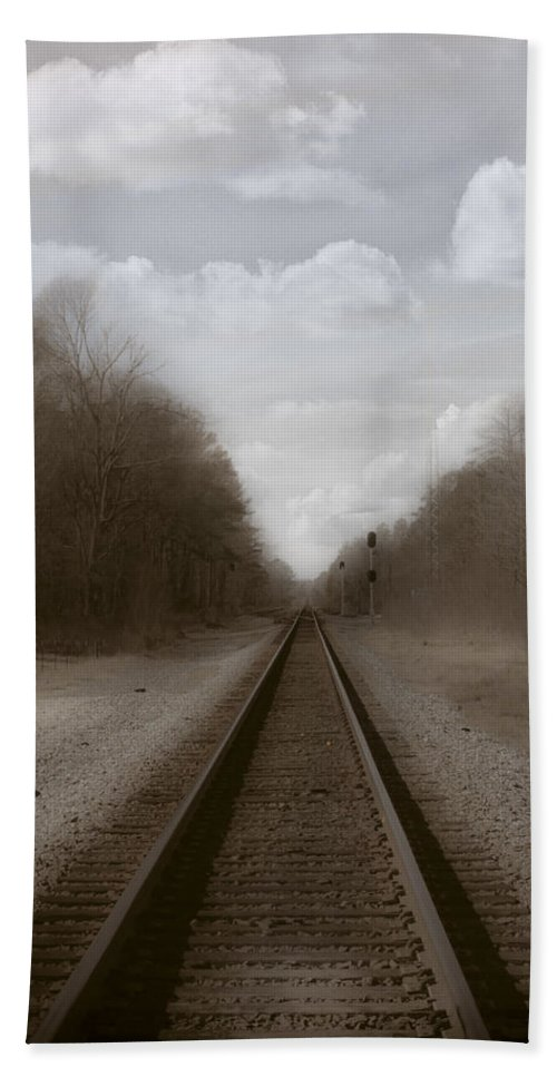 Railroad Hand Towel featuring the photograph Here That Train by Kim Henderson