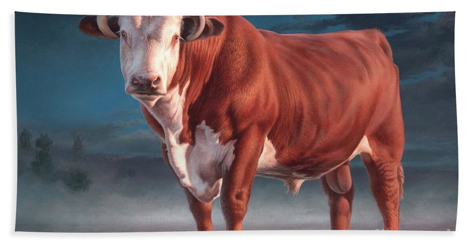 Hereford Bull Hand Towel featuring the painting Hereford Bull by Hans Droog