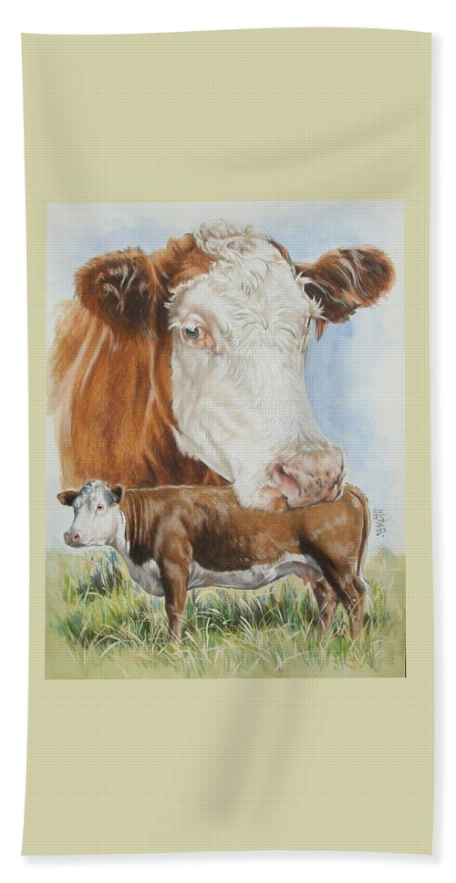 Cattle Hand Towel featuring the mixed media Hereford Cattle by Barbara Keith