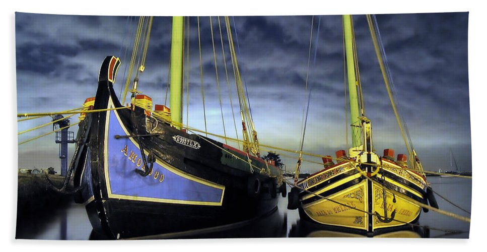 Sailboat Bath Sheet featuring the photograph Heritage In Mirrored Water by Jose Elias - Sofia Pereira