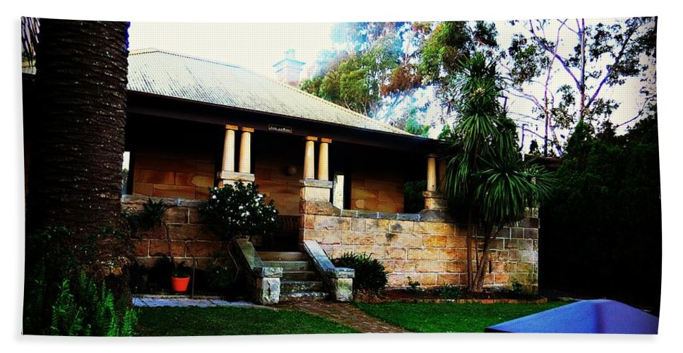 Sandstone Hand Towel featuring the photograph Heritage Sandstone House In Sydney Australia by Leanne Seymour