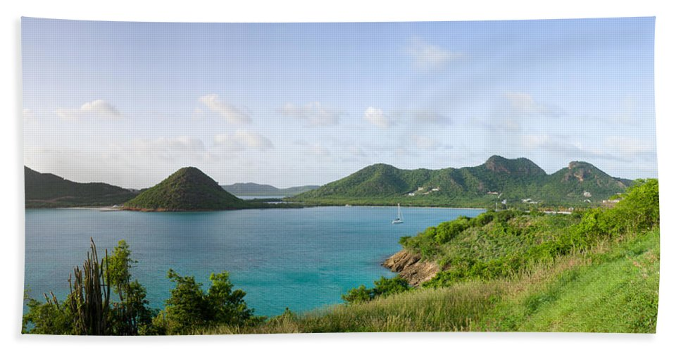 Antigua And Barbuda Bath Sheet featuring the photograph Hermitage Bay Panorama Antigua by Ferry Zievinger