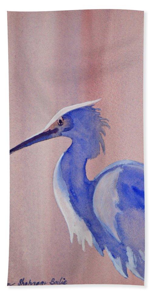 Nature Hand Towel featuring the painting Heron by Shirin Shahram Badie