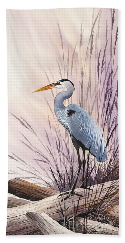 Heron Bath Sheet featuring the painting Herons Driftwood Home by James Williamson